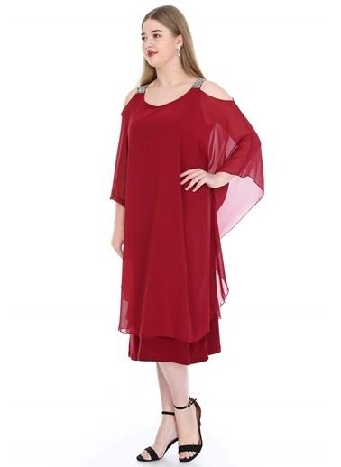 Angelino Butik Büyük Beden Omuzları Taşlı Askılı Şifon Elbise KL805 Bordo